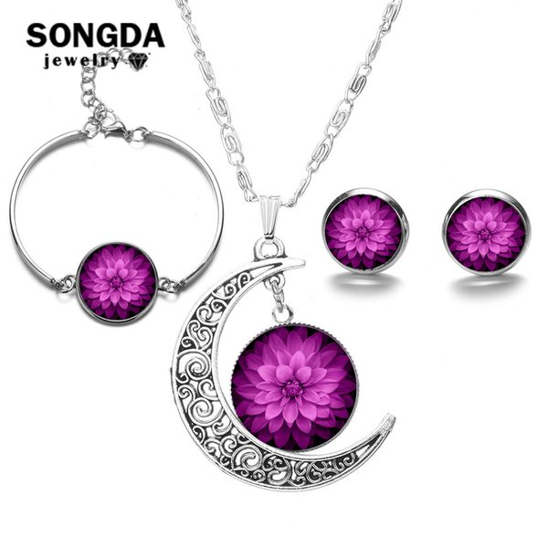 SONGDA Bohemian Mandala Jewelry Sets Trendy Print Time Gem Necklace Adjustable Bracelet Stud Earrings Buddhist Zen Yoga Series
