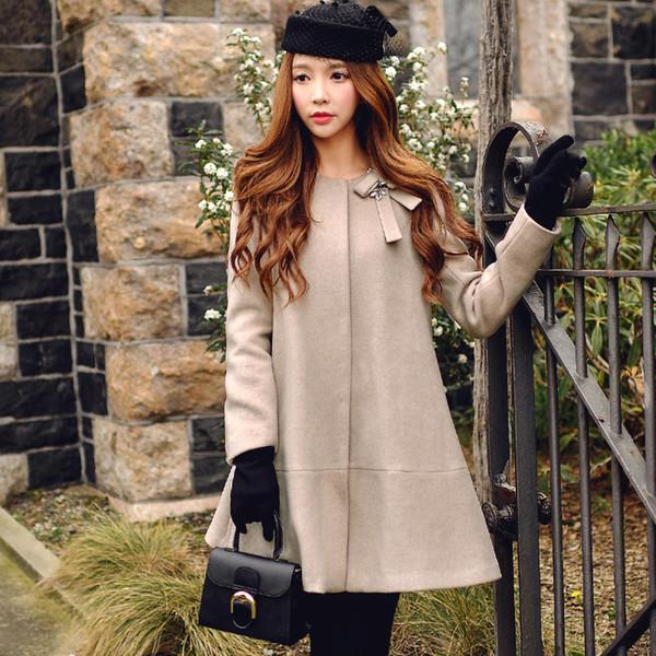 Dabuwawa Camel woolen bow Coat Women Wool & Blends Solid Outerwear Vintage Long Coats L18100706