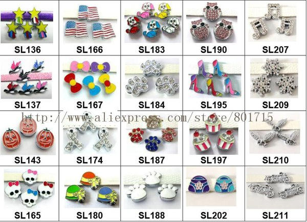 new styles 20 styles for your choice ! 5pcs colorful slide charms Jewelry Finding fit 8mm wristband pet collar key chain
