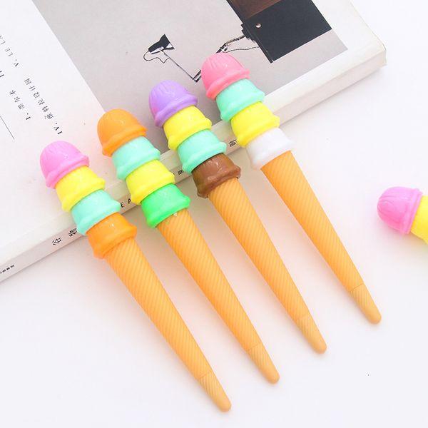 RUCHKA 10 pcs / set Korean Stationery Cute Sweet Ice Cream Rhinestone Lovely Candy Colors Gel Pens Student School Supply