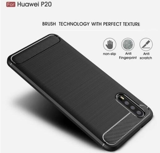 Cellphone case for Huawei P20 and P20 Pro Carbon Fiber brushed TPU Silicone Case Slim Soft Anti-slip free shipment
