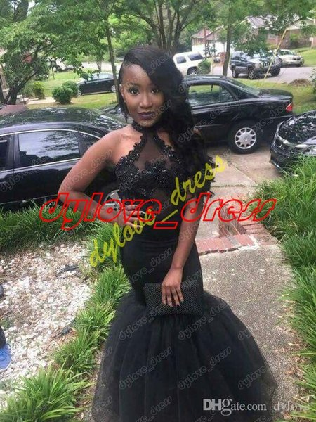 2018 sexy cheap plus size black prom dresses long lace tulle skirt evening gowns abendkleider mermaid prom dress