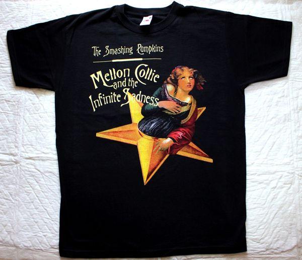 THE SMASHING PUMPKINS MELLON COLLIE E INFINITE SADNESS NEW BLACK T-SHIRT Tees Maglietta personalizzata in jersey