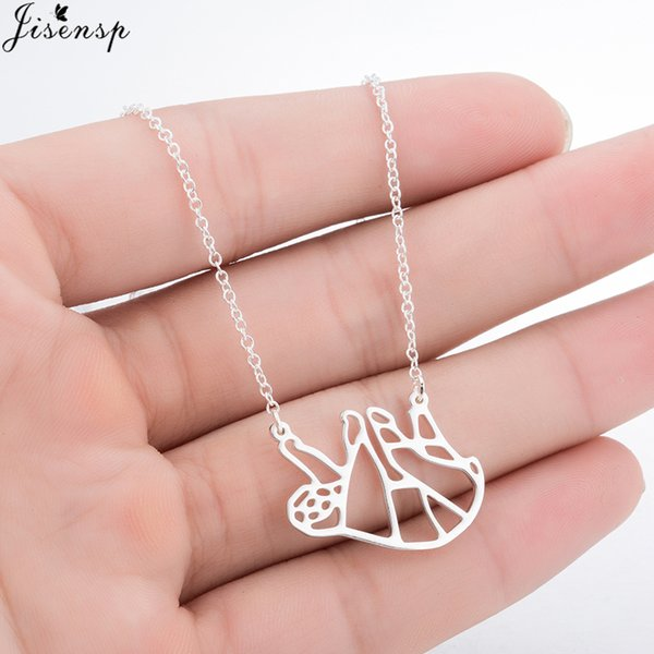 Jisensp Charm Fashion Silver Necklaces for Women Cute Origami Sloth Necklace Everyday Jewelry Animal Pendant Necklace Party Gift