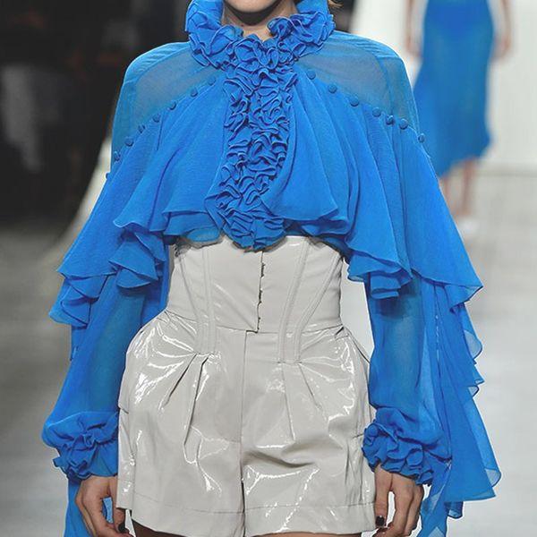 Newest Fashion Women Solid Lantern Sleeve Runway Designer Blouses Casual Long Sleeve Ruffle Shirts
