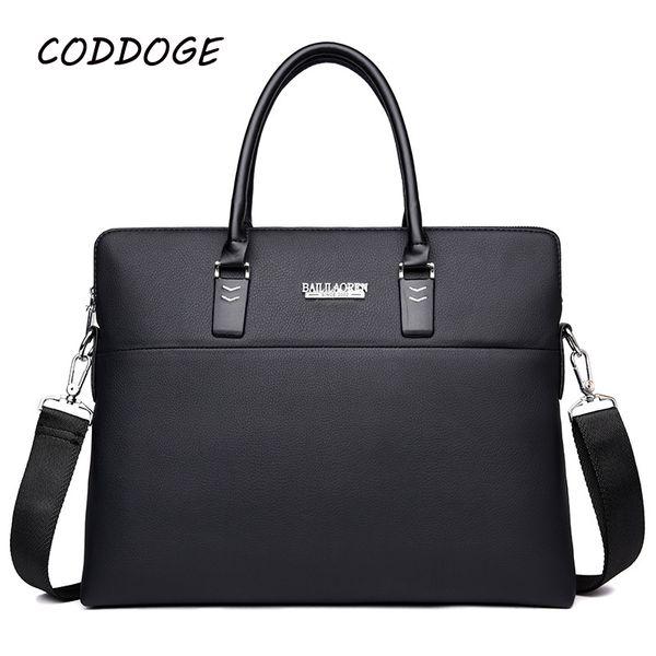Compre CODDOGE Top Sell Fashion Simple Dot Marca Famosa PU Bolso De Cuero De Los Hombres 14 '' Laptop Maletín De Los Hombres De Cuero Casual Messenger