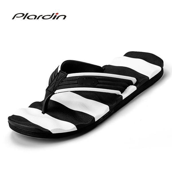 plardin 2017 Man Fashion Energetic Striped Flip Flop Soft Sole Comfortable Massage sole Slippers Casual Outdoor plus size Shoes