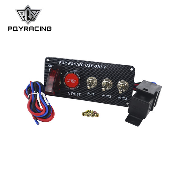 top popular PQY RACING - Start Push Button LED Toggle Carbon Fiber Racing Car 12V LED Ignition Switch Panel Engine PQY-QT313 2021
