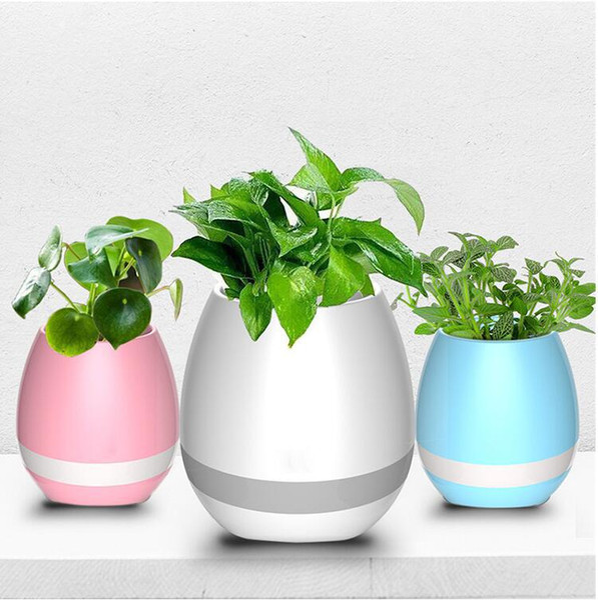Garden Mini Flower Pots Night Light Smart Touch Planters & Pots Lamp Rechargeable Wireless Bluetooth Planter Best Gift For Kids wn252