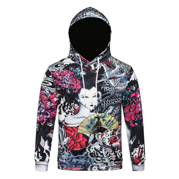 Печать толстовки мужчины 3D толстовки бренд пуловер Толстовки мальчик мода костюмы животных из уличной цветочницы бл-164