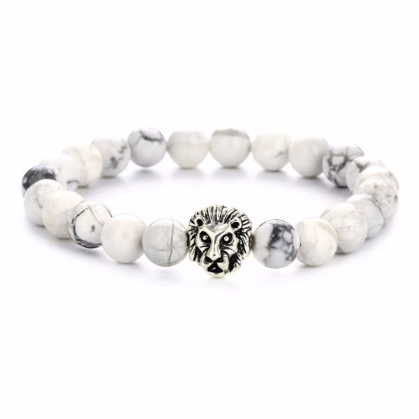 Animal shape stone lion bead bracelet wholesale yoga bracelet 8mm natural stone unisex adjustable bead bracelet
