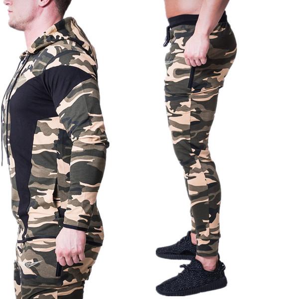 92907e29e835a Conjunto de deportes para hombres Running Gym Chándales Fitness culturismo  Ropa deportiva para hombre Sudaderas con capucha + Pantalones de  entrenamiento ...