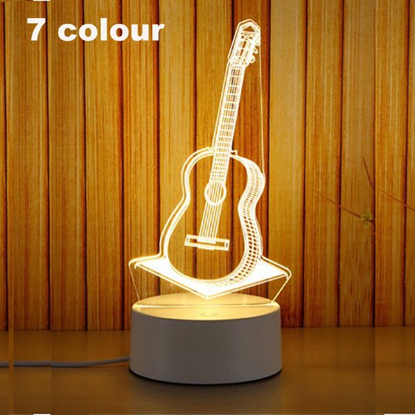 3D Led Night Light Change Novelty Table Lamp Home Decor Bedside 3d Lamp Child Gifts 2018 New 7 Color guitar