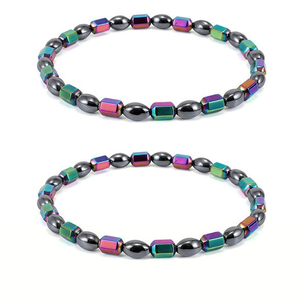 201807 Magnet Oval Beads Anklet Bracelet Plating AB Color Magnetic Therapy Foot Chain Jewelry for Women and Girls Free DHL H560Q