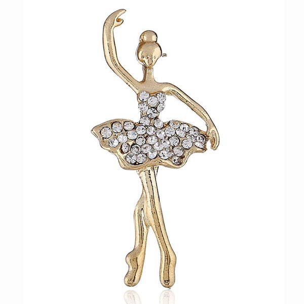 New Seller Figure Girl Dancing Brooch Pins Golden Sliver Color Pins Women Dress Shirt Suit Rhinestone Brooch Good Quality Price Accessaries