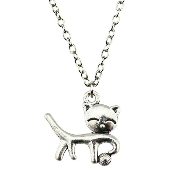 WYSIWYG 5 Pieces Metal Chain Necklaces Pendants Vintage Necklace Handmade Cat 19x18mm N2-B10218