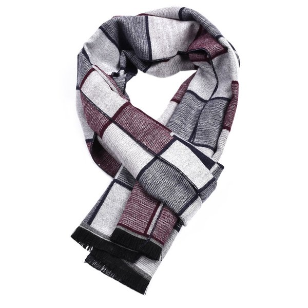 Guttavalli Fashion Men British Small Plaids Long Warm Shawl Winter Cotton Geometric Scarves Male Chevron Stripes Checks Scarf