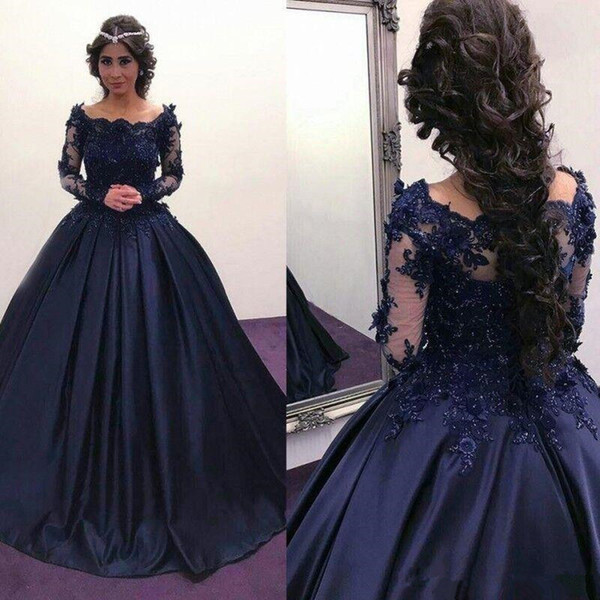 2018 Navy Blue Long Sleeve puffy Prom Dresses Bateau Lace Satin masquerade Ball Gown African Evening Formal Dress vestidos Plus Size