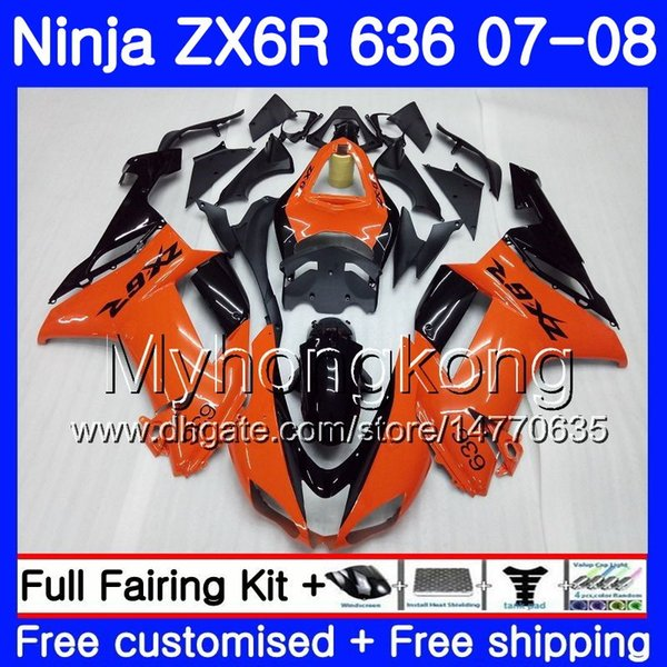 Корпус для KAWASAKI NINJA ZX 6R 6 R 600CC ZX-636 ZX636 07 08 209HM.3 ZX600 ZX6R 07 08 Кузов ZX 636 ZX-6R Глянцевый оранжевый 2007 2008 Обтекатели