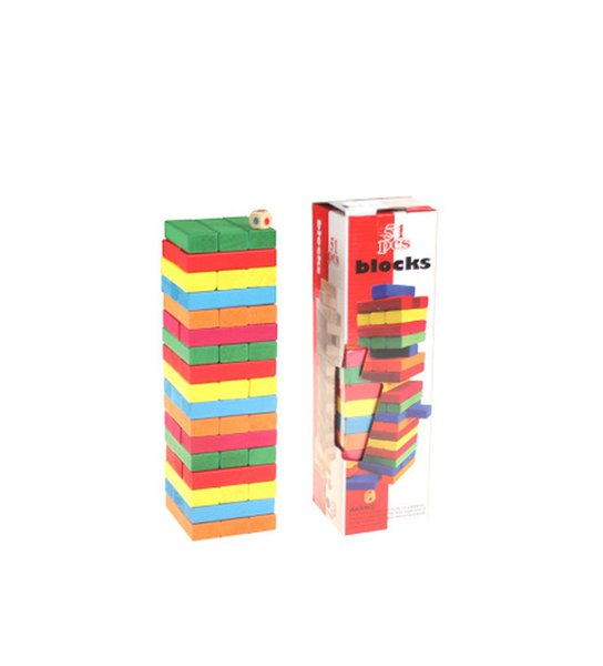 Jenga Building Blocks 51 Pieces Colour Wooden Bricks Toys Timber Tower Wood Block Stacking Game for Kids or Adults
