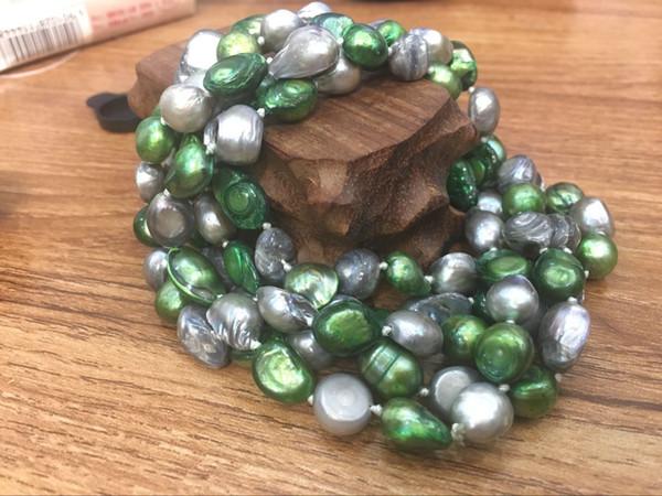 Collier de perles d'eau douce multicolores baroques de 8 à 9 mm, sans boucle, 08966