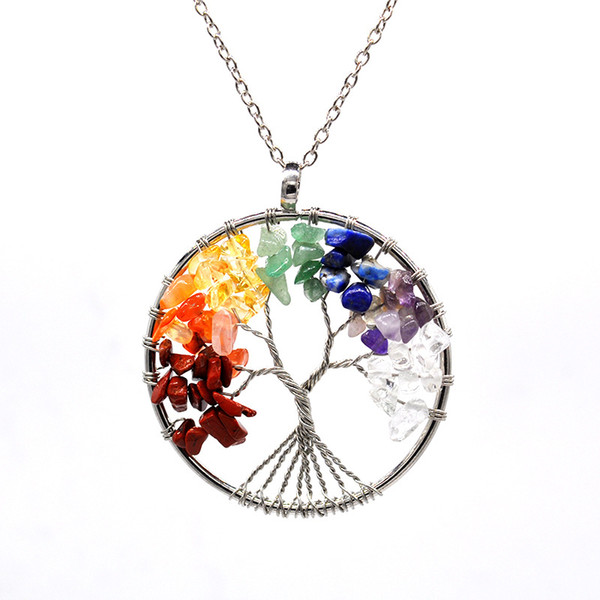 Rainbow 7 Chakra Tree Of Life Crystal Stone Pendant Necklace For Women Nartual Stone Quantz Beads Drop Fashion Jewelry Wholesale Necklace