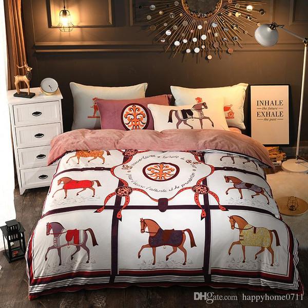 Европейский роскошный комплект постельного белья вывески с рисунком кареты H Palace стиль хрустальный бархат из пяти частей зимой толстый теплый набор из четырех частей