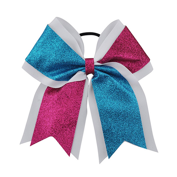 """hot 7"""" Big Sequin Cheer Bows With Elastic Band Hand Made Bling Girl's Cheerleading Hair Bow Hair Accessories For Long Hair 12pcs"""