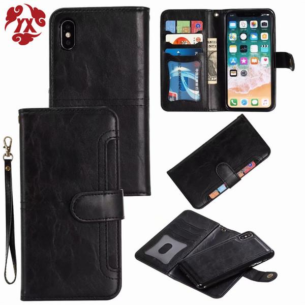 YX 2 en 1 magnétique portefeuille en cuir cas pour iphone 6 7 8 plus x xs xs max xr téléphone cas aimant couverture amovible pour iphone 6 s cas