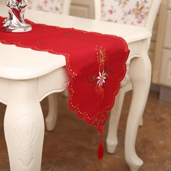 Ricamo Xmas Table Satin Tablecloth Craftwork Placemat Red Table Flag Cloth Covers Decorazione di Natale Navidad per la casa