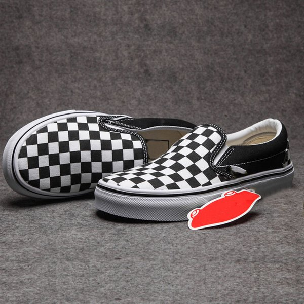 Classic Old The Wall Canvas Shoes 2018 Black White Aut Grid New Designer Fashion Look Outdoor Slip-on Unisex Casual Shoes