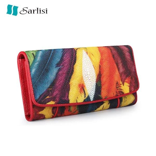 Colorful Printed Feather Designer Genuine Stingray Skin Exotic Leather Female Red Three-fold Long Purse Women Large Phone Wallet