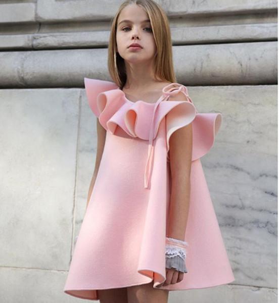 Compre Vestidos De La Moda De Un Hombro Vestido Del Verano Del Bebé Ropa De La Muchacha Rizada Collar Muchachas Del Partido 18032802 A 805 Del