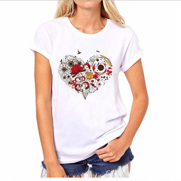 En Línea 57 Flor Camisetas Corta Para Corazón Compre Mujer A12 Del TextualteeshirtDhgate Personalizadas O Manga com Cuello De lFK1TuJc35