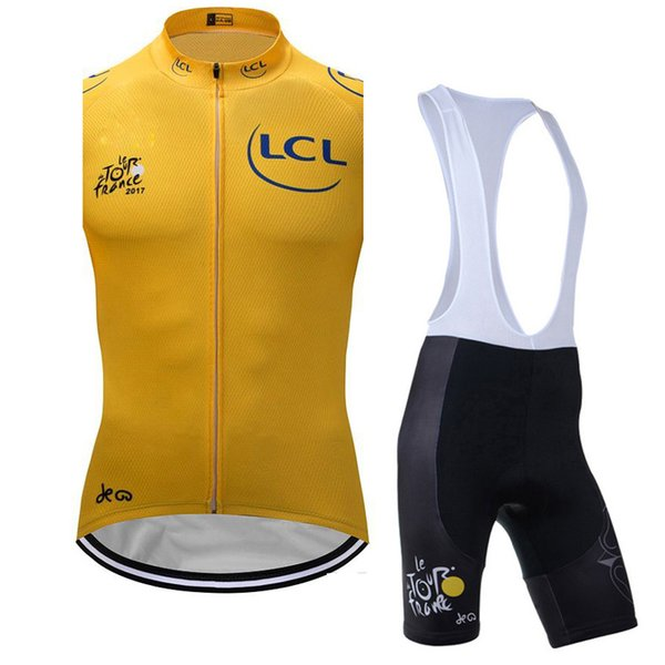 TOUR DE FRANCE men Outdoor Sports Breathable Quick drying Cycling Sleeveless jersey Vest bib shorts sets Clothes 60605