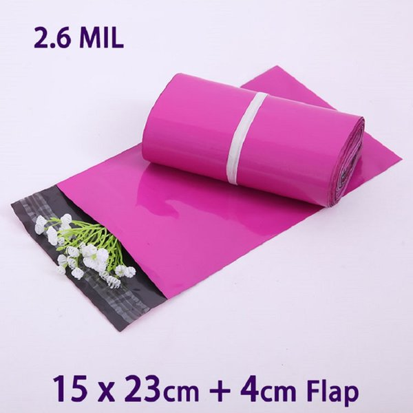 200 Pcs Purple Poly Mailer Plastic Mailing Bags Small Envelopes Packaging Shipping Bag 15x23cm Envelope Polybag Mailbag Sobres