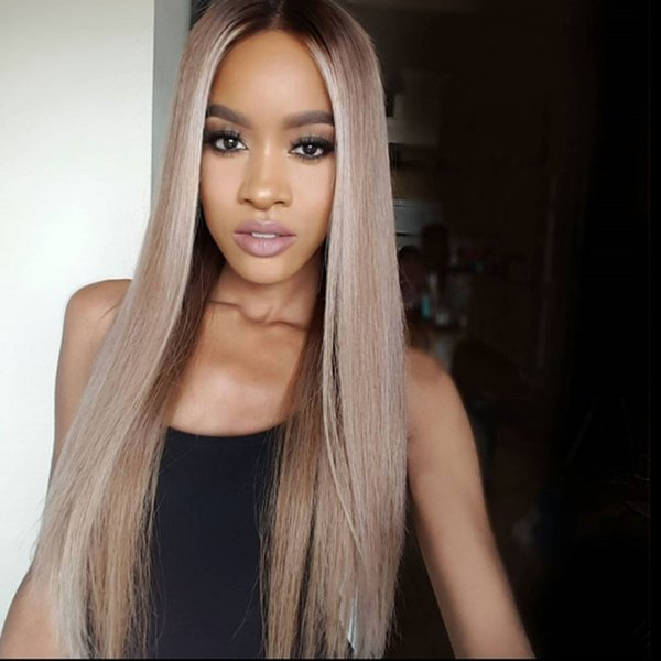 Virgin brazilian straight ombre full lace wigs human hair glueless two tone color lace front wig #1b/18 color for black women