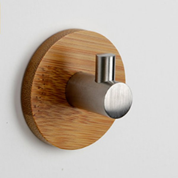 best selling 3M Self Adhesive Robe Hook Wooden + 304 Stainless Steel Wall Coat Holder Hanger Clothes Towel Home Decor for Bathroom Kitchen Rustproof Hook