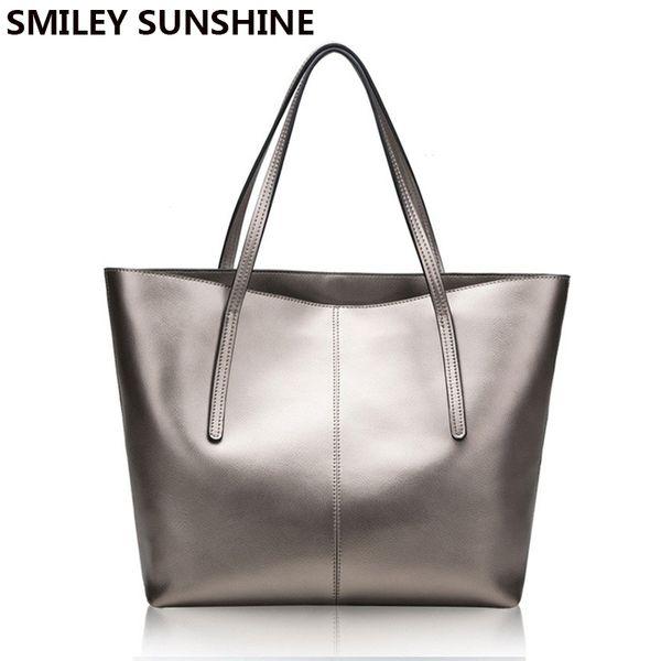 Silver Genuine Leather Women Bag 2018 Big Handbag Fashion Top-handle Hand Bag Ladies Tote Large Luxury Female Shoulder Bag Y18102404