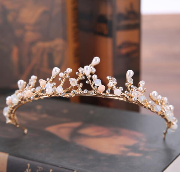 New bride's head ornaments, pearl water drill, crown bride and Princess Royal wedding dress accessories