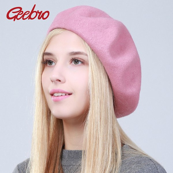 793a6d3d Geebro Women's Cashmere Beret Hat Fashion Solid Candy Color Warm Wool Berets  for Women French Artist