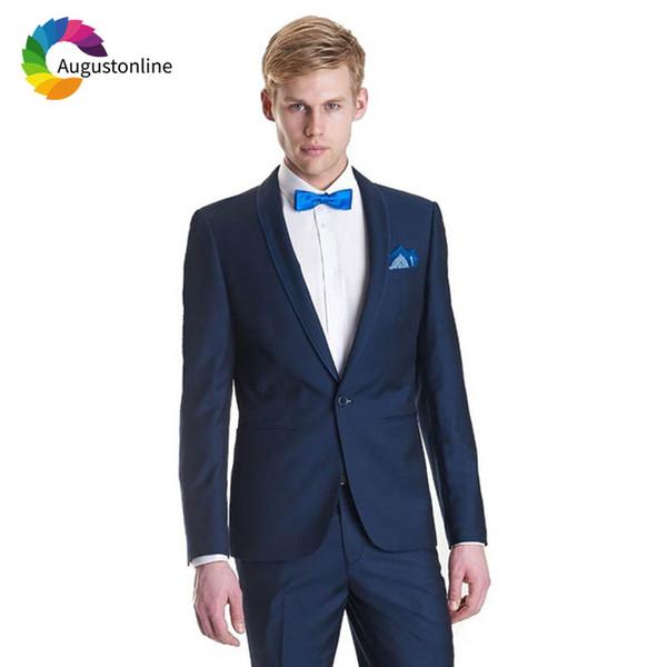 Navy Blue Groom Tuxedo Shawl Lapel Jacket Pants 2Piece Slim Fit Men Wedding Suits Blazer Masculino Custom Made Costume Homme