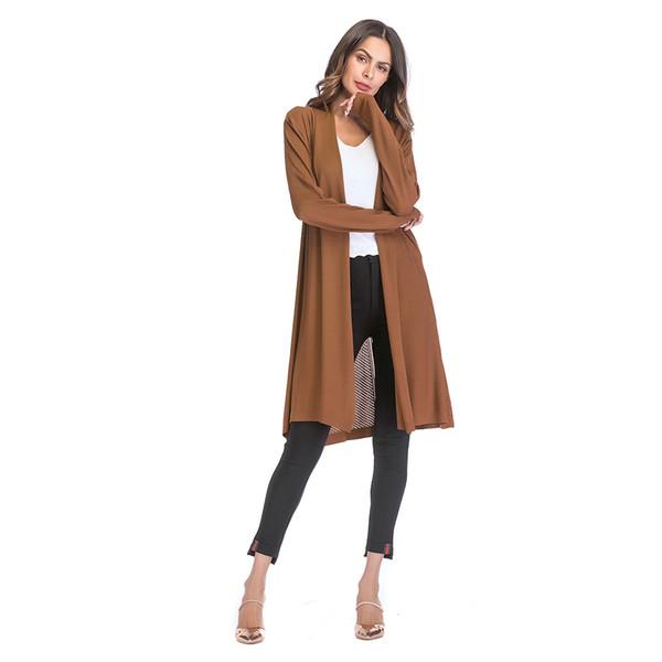 Brown Long Cardigan Chandails Femmes Kimono D'été Dames Chandail De Noël Fashion Designer Jumper Élégant Cardigan 18A50026