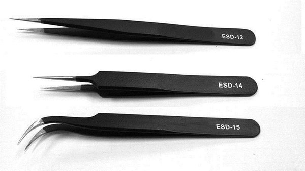 VETUS ESD-12 ESD-14 ESD-15 Metal Non-magnetic Stainless Steel Anti-static Tweezers ESD Plier for Jewelry ICs SMD SMT