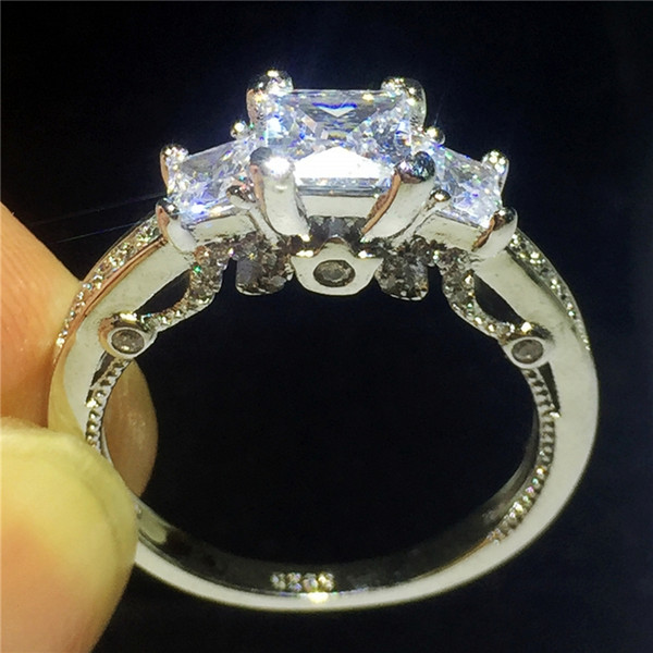 Vintage Promise Finger Ring 925 sterling Silver Three-stone 5A cz Engagement Band Rings For Women Wedding Jewelry