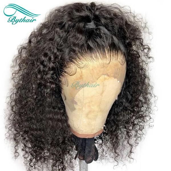 Bythair pleine perruque de cheveux humains courte perruque bouclée avant de perruque pré pincée Deep Curl cheveux malaisiens vierge 150% densité noeuds blanchis