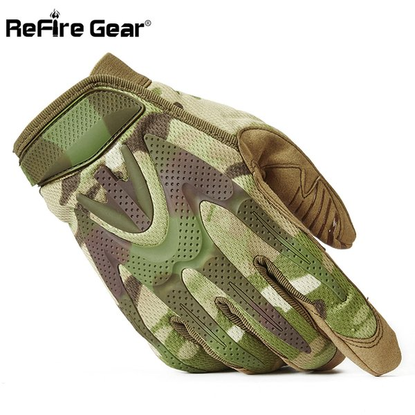 ReFire Gear Camouflage Tactical Army Gloves Men SWAT Military Equipment Full Finger Glove CP Camo Paintball Shoot Bicycle Gloves D18110705