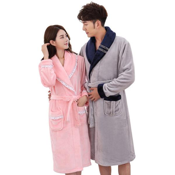 Women&Men Coral Fleece Robe Gown Lovers Winter Thick Nightgown Bathrobe Couple Warm Lounge Sleepwear Dress