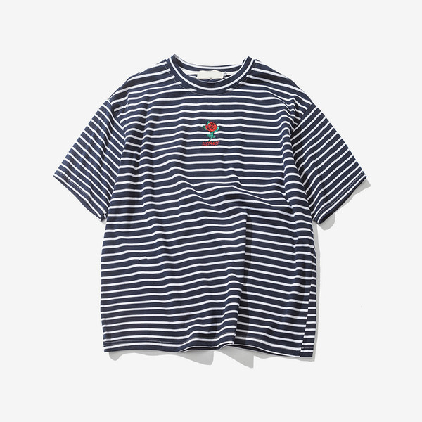 Rose bordado de rayas camiseta para hombre de manga corta 2018 verano de alta calle de gran tamaño Hip Hop camiseta de algodón camisetas 2 colores
