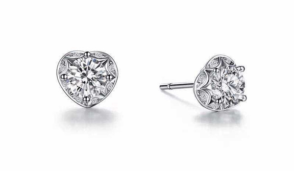 Pure Silver 925 Earrings Heart Shape Non-allergy Stud Earrings 1Ct/Piece Round Cut Synthetic Diamonds Earrings White Gold Color